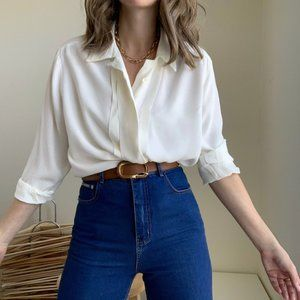 Vintage Front Pleated Blouse Button Up